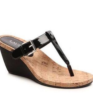 Ralph Lauren Roseanne thong wedge sandals size 9